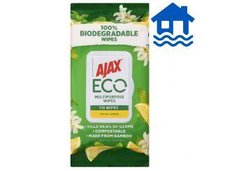 Ajax Antibacterial Cleaning Wipes - Fresh Lemon 110 Pack Flood Relief
