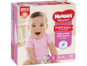 Huggies Ultra Dry Nappies for Girls - Crawler - 6-11kg