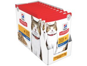 Hills Science Diet Wet Cat Food Chicken Adult 7+ - 12X85G - Expires Dec 2021